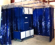 Mobile Weld Booth with UV protective welding curtains